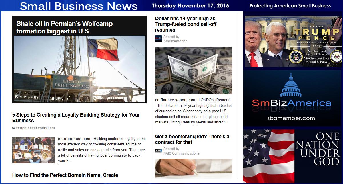 Small Business News | Thursday 11-17-17 – Small Business News
